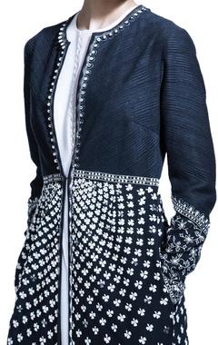 black floor length floral jacket with inner