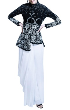 ivory sari with black velvet jacket