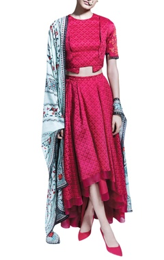 red printed skirt set with a mint green dupatta