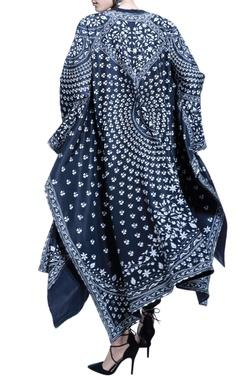 black pant set with digital printed cape
