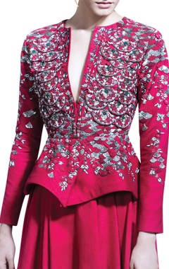red skirt set with embroidered jacket