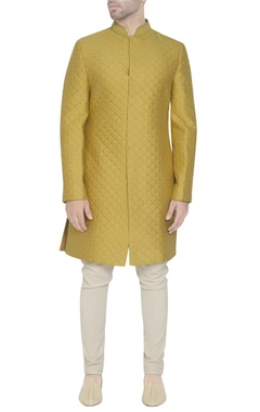 yellow quilted sherwani