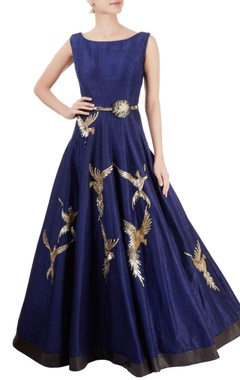 Navy blue gown with hand embroidery