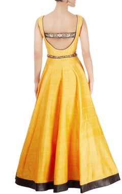 Yellow gown with hand embroidery