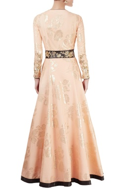 Peach anarkali set with embroidered panel