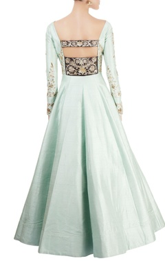 Mint green gown with hand embroidery