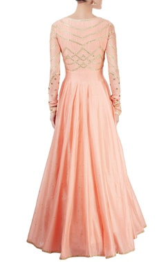 Peach anarkali set with gota patti