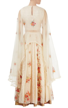 off white & beige embroidered skirt set