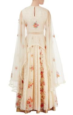off white & beige embroidered skirt set