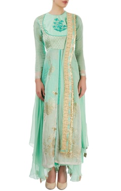 aqua green embroidered palazzo set with hand painting