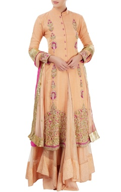 Peach embroidered jacket lehenga set with hand painting