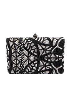 Crystal Craft Black & white studded box clutch