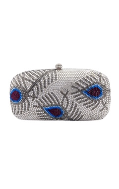 Multi-colored feather motif clutch