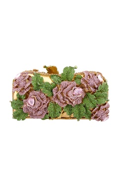 Gold clutch with floral pattern