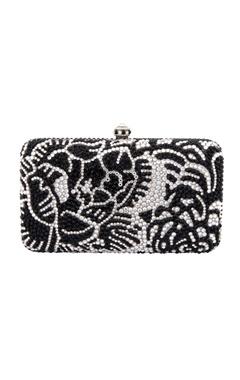 Crystal Craft Black & white embellished box clutch