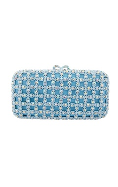 Blue clutch with cutwork details and embellishments