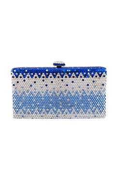 White & blue embellished clutch