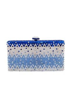 Crystal Craft White & blue embellished clutch