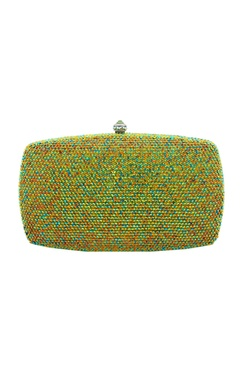 Multi-colored embellished box clutch