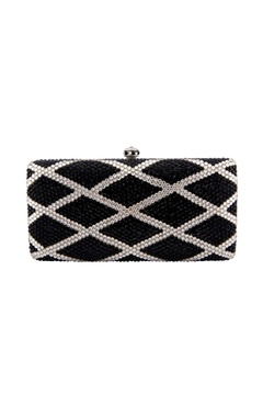 Black & white clutch with geometric pattern