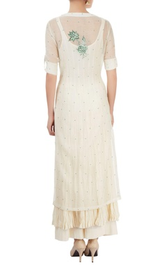 White palazzo set with embroidery