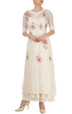 White palazzo set with thread embroidery