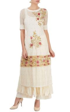 White thread embroidered kurta set