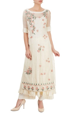 White thread embroidered palazzo set