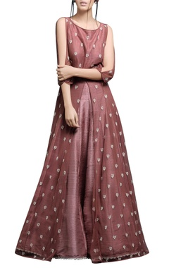 Burnt rose anarkali with lehenga