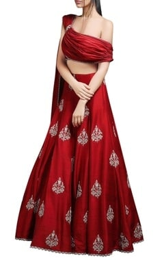 Red blouse with embroidered lehenga