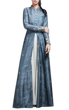 Rustic blue anarkali jacket & inner
