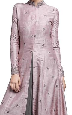 Blush pink anarkali jacket & shadow grey inner