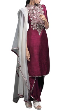 Wine embroidered kurta set