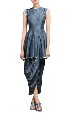 Metallic blue kurta & draped pants