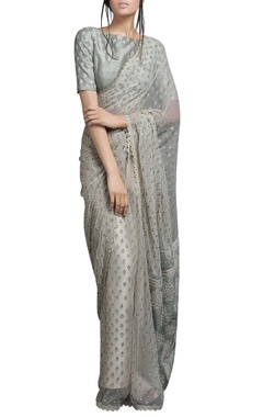Ivory beige sari with light green blouse