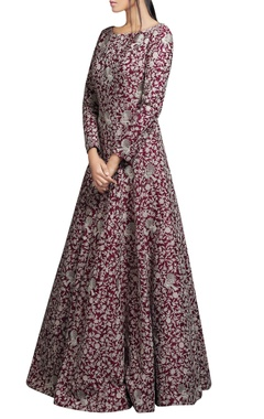 Wine red embroidered silk gown