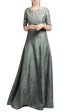 light green embroidered gown