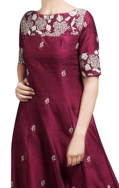 wine red embroidered gown