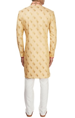 Beige kasab embroidered sherwani