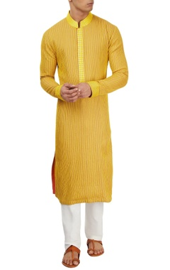 Yellow thread work kurta set