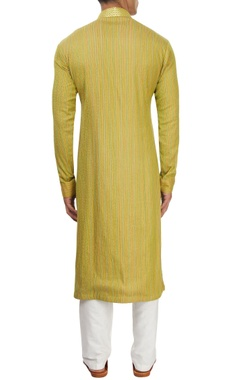 Green thread work kurta set