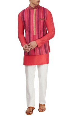 Pink & purple patched kurta set
