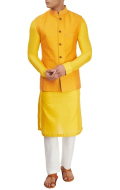 Yellow kurta set with jacket