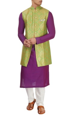 Purple & green kurta set