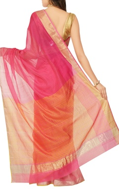 pink striped sari