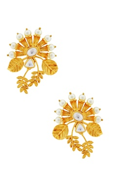 Rohita Gold leaf motif earrings with kundan crystals
