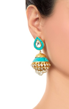 Turquoise jhumkas with kundan crystals