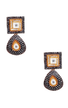 gold & black earrings with zircons
