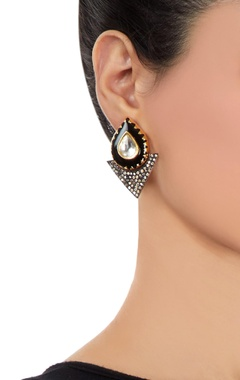 black earrings with enamel work