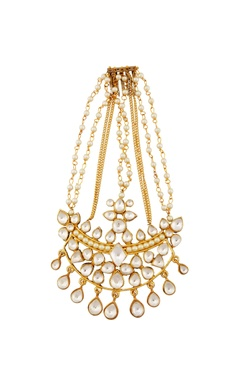 Gold passa with kundan crystals